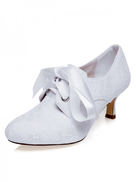 Women's Satin Toe Fermé Silk Spool Heel Chaussures de mariage