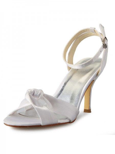 Women's Stiletto Heel Peep Toe Satin With Buckle Mary Jane White Chaussures de mariage