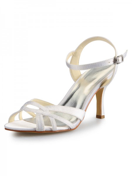 Women's Stiletto Heel Peep Toe Satin With Buckle Sandal Chaussures de danse