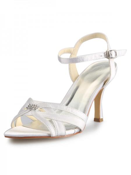 Women's Satin Stiletto Heel Peep Toe With Faux diamants Buckle Chaussures de danse