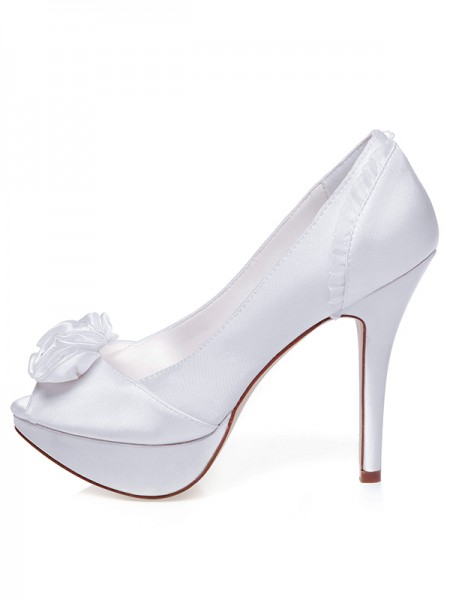Women's Satin Peep Toe Stiletto Heel Knots Chaussures de mariage