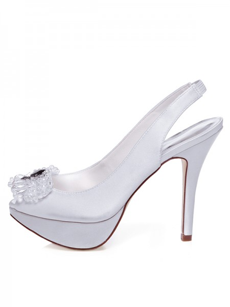 Women's Satin Peep Toe Stiletto Heel Faux diamantss Chaussures de mariage