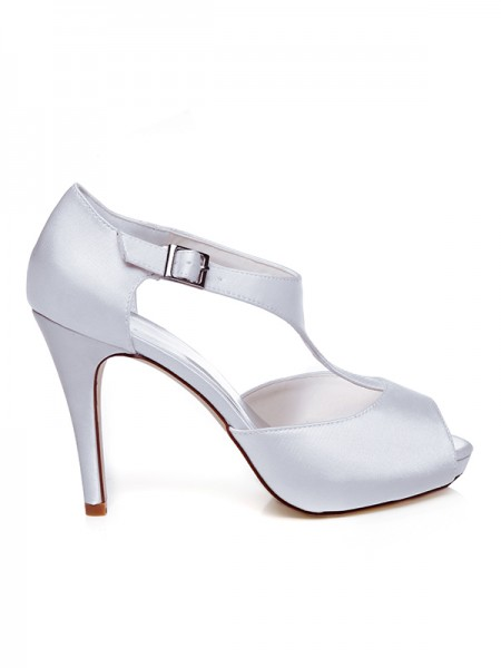Women's Satin Peep Toe Buckle Stiletto Heel Chaussures de mariage