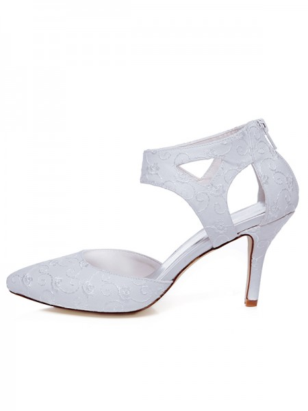 Women's Satin Toe Fermé Spool Heel Zipper Chaussures de mariage