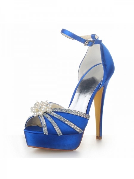 Women's Satin Stiletto Heel Plate-forme Peep Toe With Pearl Royal Blue Chaussures de mariage