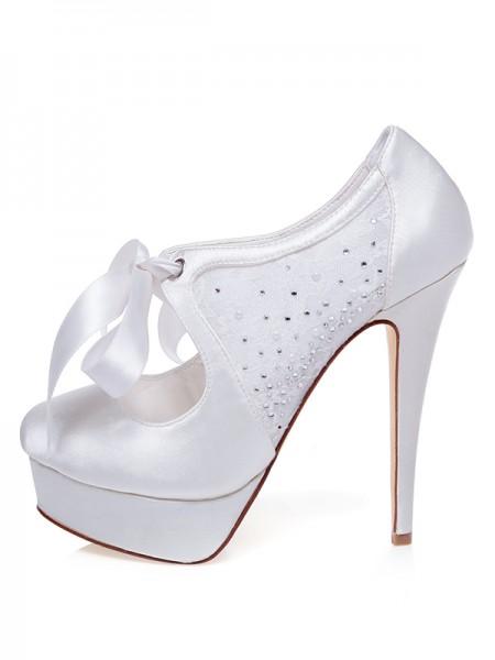 Women's Satin Toe Fermé Stiletto Heel Silk Chaussures de mariage