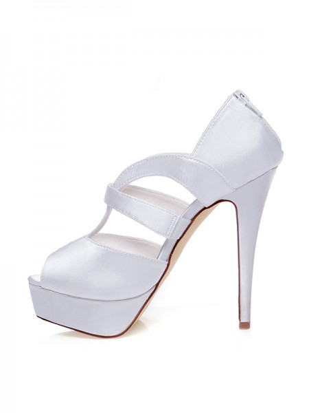 Women's Satin Peep Toe Zipper Stiletto Heel Chaussures de mariage