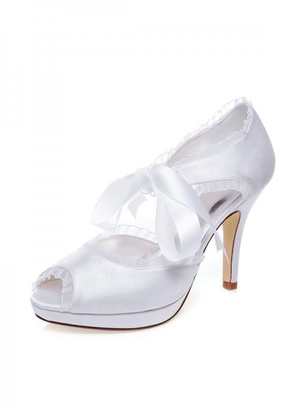 Women's Satin Peep Toe Silk Stiletto Heel Chaussures de mariage