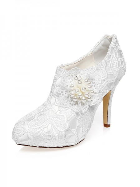 Women's Satin Toe Fermé Stiletto Heel Flower Chaussures de mariage