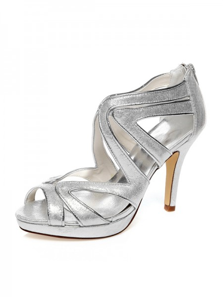 Women's PU Peep Toe Zipper Stiletto Heel Chaussures de mariage