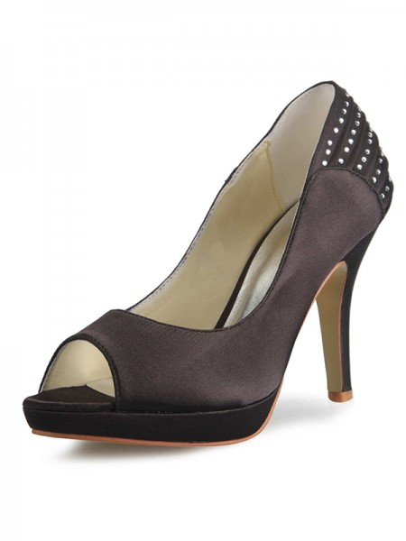 Women's Satin Cône talon Plate-forme Peep Toe With Faux diamants Plates-formes Chaussures