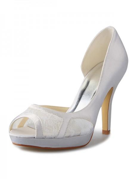 Women's Stiletto Heel Satin Plate-forme Peep Toe With Dentelle White Chaussures de mariage