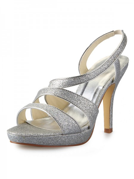 Women's Cône talon Plate-forme Satin Peep Toe With Sparkling Glitter Sandales