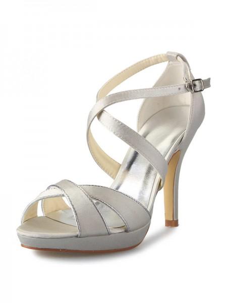 Women's Satin Stiletto Heel Plate-forme Peep Toe With Buckle Chaussures de danse