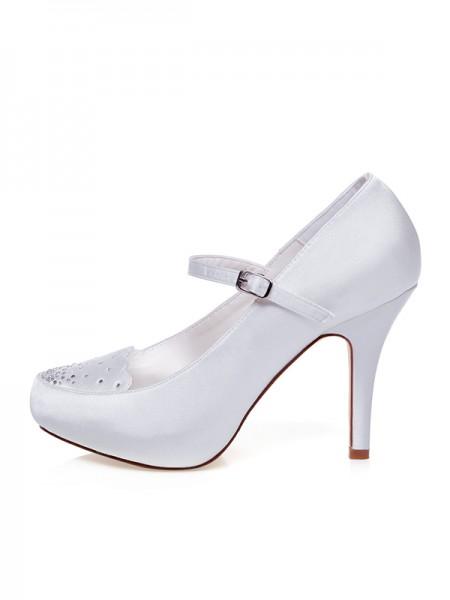 Women's Satin Toe Fermé Buckle Stiletto Heel Chaussures de mariage