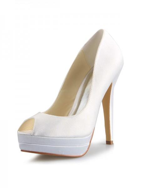 Women's Satin Stiletto Heel Peep Toe Plate-forme White Chaussures de mariage