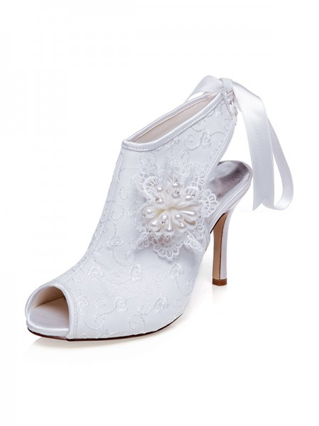 Women's Satin Peep Toe Flower Stiletto Heel Chaussures de mariage