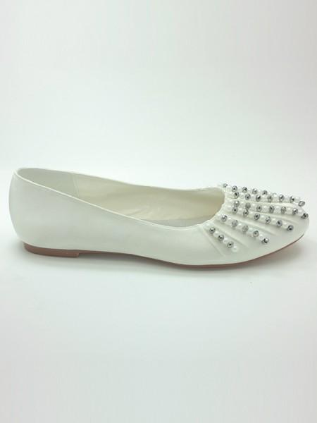 Women's Satin Toe Fermé Flat Heel Beading Chaussures de mariage