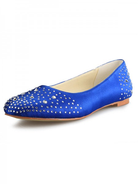 Women's Flat Heel Satin Toe Fermé With Faux diamants Chaussures plates