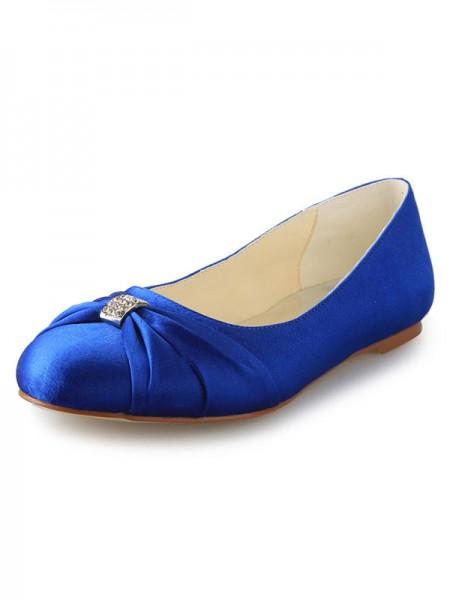 Women's Flat Heel Toe Fermé Satin With Faux diamants Chaussures plates