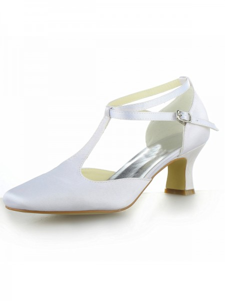 Women's White Satin Toe Fermé talon Chunky With Buckle Talons hauts