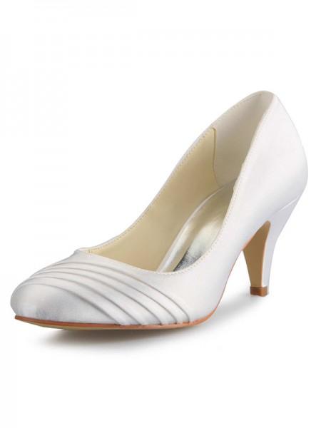Women's Cône talon Satin Toe Fermé White Chaussures de mariage
