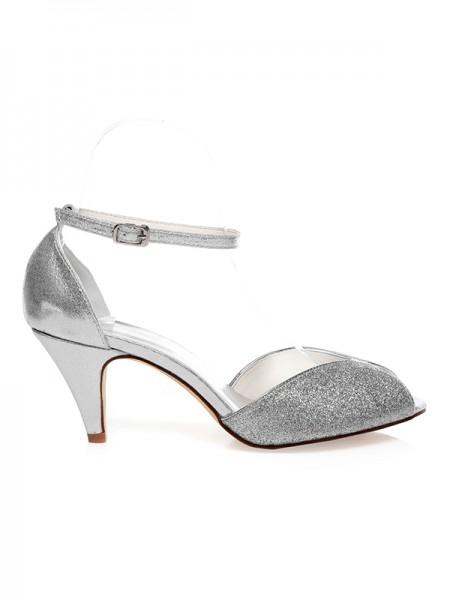 Women's PU Peep Toe Buckle Cône talon Chaussures de mariage