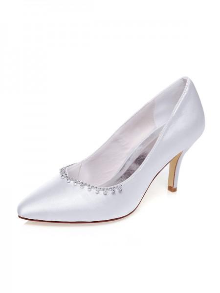 Women's Satin Toe Fermé Beading Stiletto Heel Chaussures de mariage
