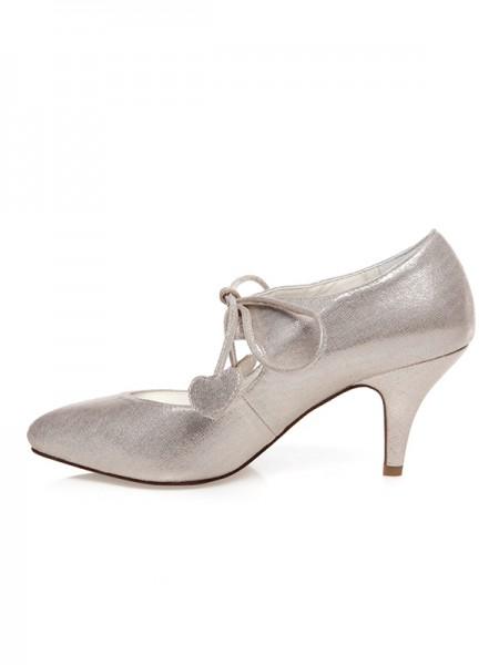 Women's PU Toe Fermé Dentelle-Up Spool Heel Chaussures de mariage