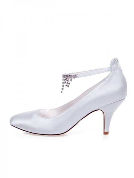 Women's Satin Toe Fermé Beading Spool Heel Chaussures de mariage