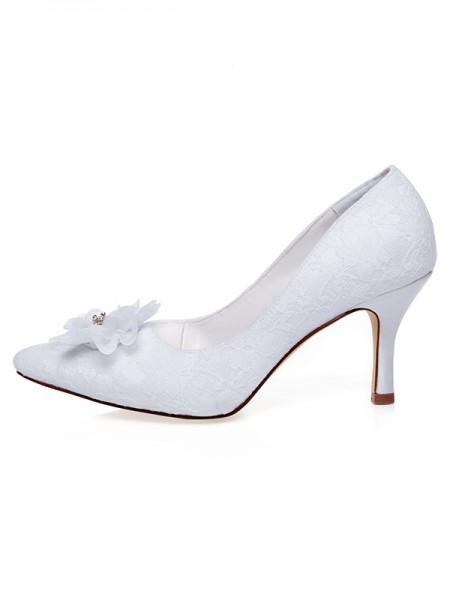 Women's Satin Toe Fermé Flower Spool Heel Chaussures de mariage