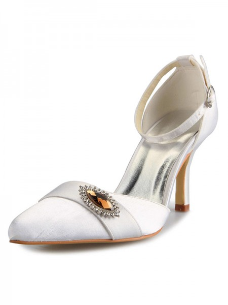 Women's Mary Jane Satin Stiletto Heel Toe Fermé With Faux diamants White Chaussures de mariage