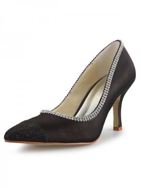 Women's Satin Spool Heel Toe Fermé With Faux diamants Bureau Talons hauts