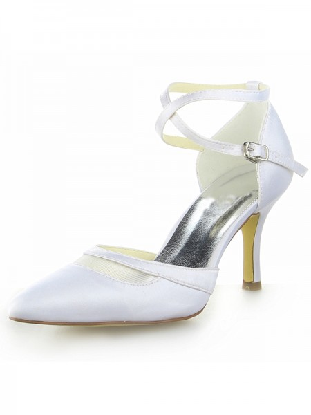 Women's White Satin Toe Fermé Spool Heel With Buckle White Chaussures de mariage