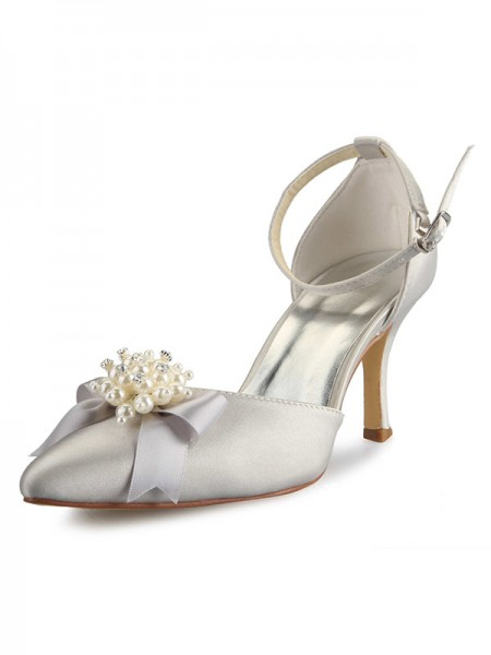 Women's Spool Heel Satin Toe Fermé With Pearl Boucles White Chaussures de mariage