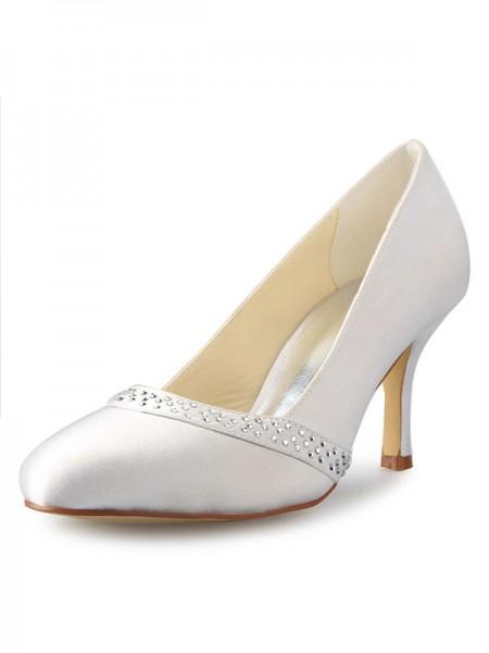 Women's Stiletto Heel Toe Fermé Satin With Faux diamants White Chaussures de mariage
