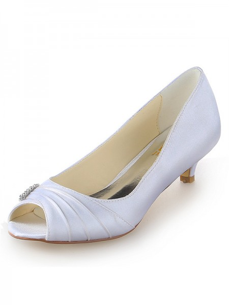 Women's Satin Peep Toe Kitten Heel With Faux diamants White Chaussures de mariage
