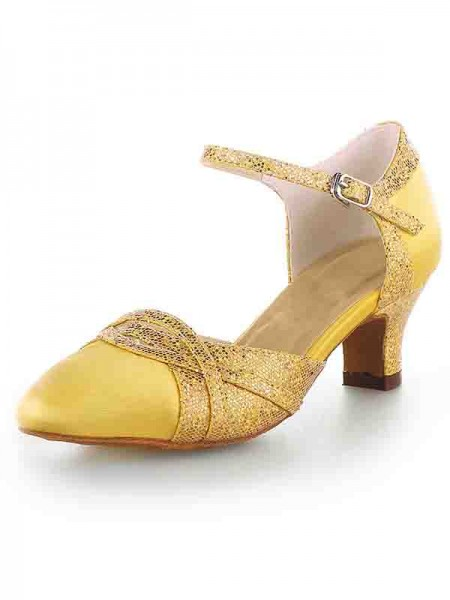 Women's Satin Toe Fermé talon Chunky With Sparkling Glitter Talons hauts