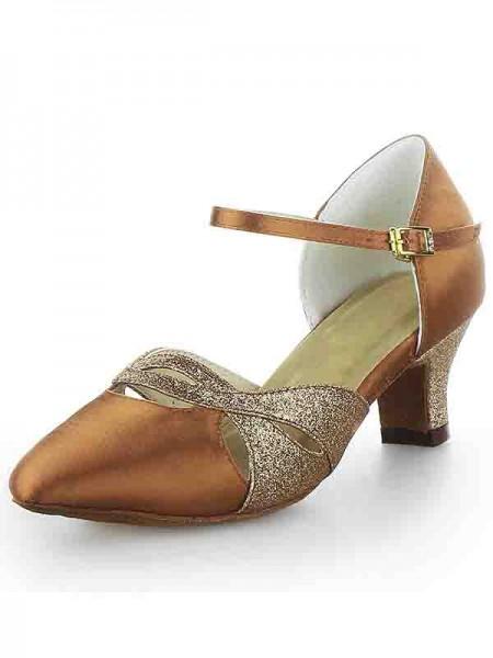 Women's Satin Toe Fermé talon Chunky Buckle Sparkling Glitter Chaussures de danse