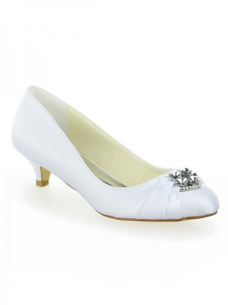 Women's Satin Dentelle Plate-forme Toe Fermé With Boucles Kitten Heel White Chaussures de mariage