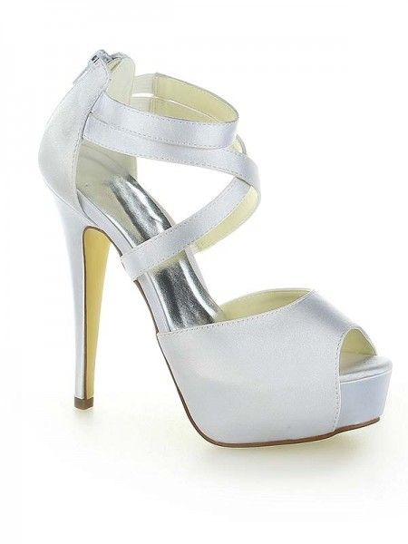 Women's Satin Plate-forme Peep Toe With Zipper Stiletto Heel White Chaussures de mariage