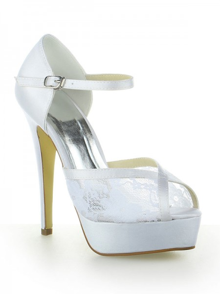 Women's Satin Dentelle Plate-forme Peep Toe With Buckle Stiletto Heel White Chaussures de mariage