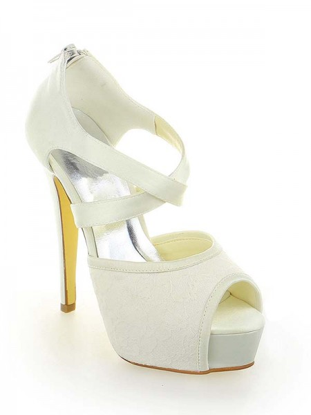 Women's Satin Dentelle Plate-forme Peep Toe Stiletto Heel With Zipper White Chaussures de mariage