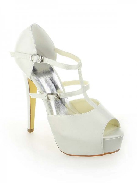 Women's Satin Plate-forme Peep Toe Stiletto Heel With Buckle White Chaussures de mariage