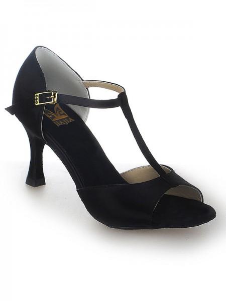 Women's Satin Stiletto Heel Peep Toe Buckle Chaussures de danse