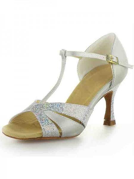 Women's Satin Stiletto Heel Peep Toe Buckle Sparkling Glitter Chaussures de danse