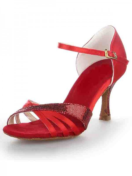 Women's Stiletto Heel Satin Peep Toe Buckle Chaussures de danse