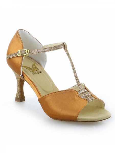 Women's Stiletto Heel Buckle Peep Toe Satin Chaussures de danse