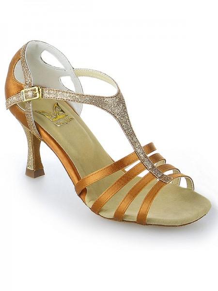 Women's Peep Toe Buckle Stiletto Heel Satin Chaussures de danse