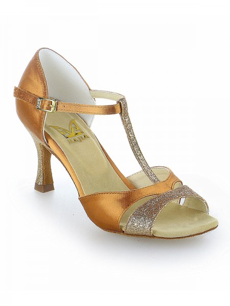 Women's Satin Peep Toe Buckle Stiletto Heel Chaussures de danse